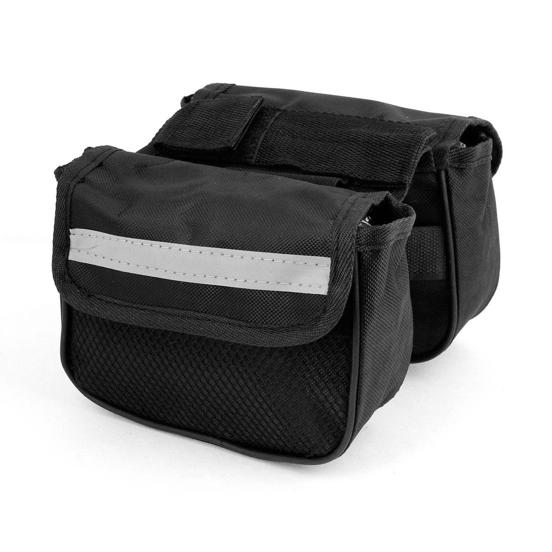 Affix Fastener Black Nylon Double Saddle Front Bag for Bike Bicycle