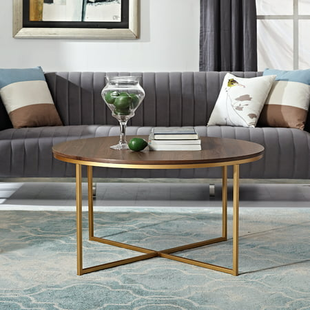 Manor Park Mid Century Modern Round Coffee Table - Dark Walnut & Gold