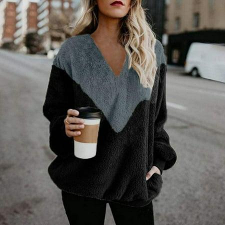 Autumn Winter Women Casual Pullovers Faux Fur Fluffy Solid Patchwork Sweatshirt V-Neck Streetwear Tops Quilt Sweatshirt Jacket