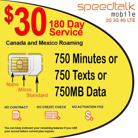 $30 Prepaid GSM SIM Card Rollover 750 Minutes Talk Text Data 180-Day Service With Canada & Mexico