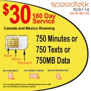 $30 Prepaid GSM SIM Card Rollover 750 Minutes Talk Text Data 180-Day Service With Canada & Mexico Roaming