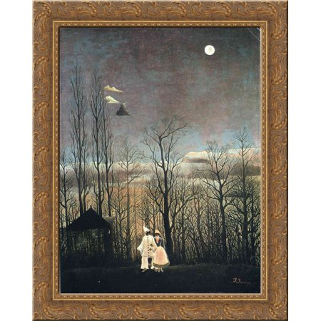 Carnival Evening 24X20 Gold Ornate Wood Framed Canvas Art By Henri Rousseau