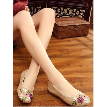 NK Fashion Women Ballet Flats Floral Embroidered Platform Shoe Slip On Casual Driving Loafers(4-10