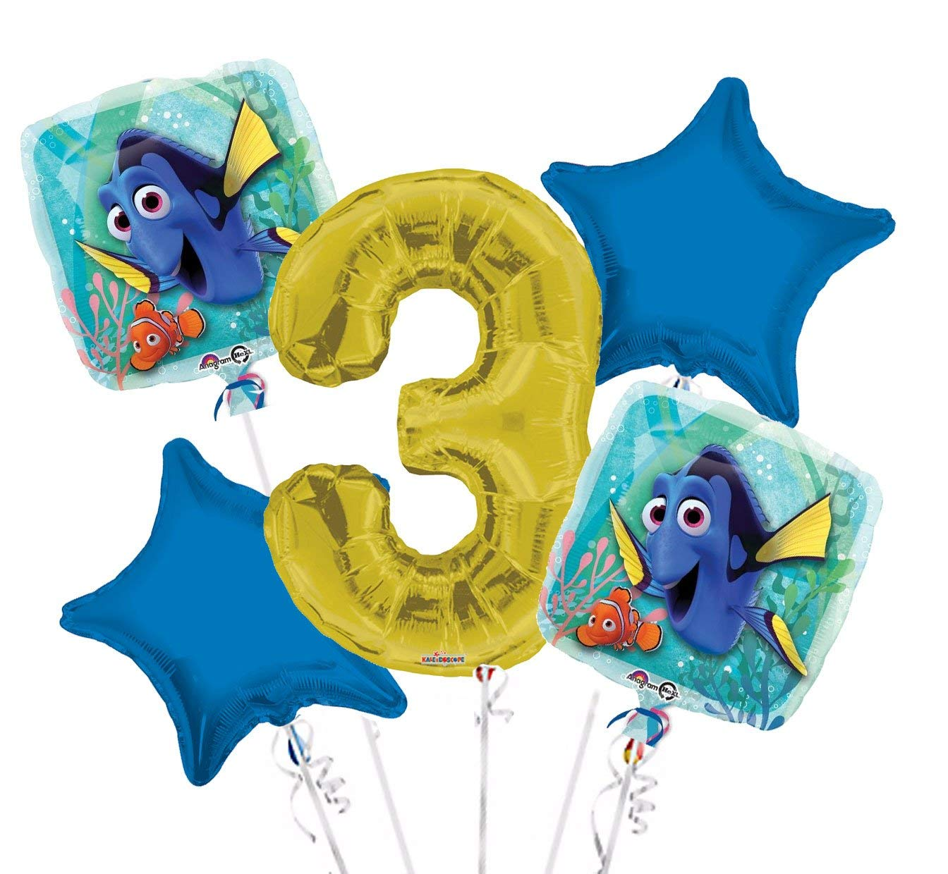 Finding Dory Balloon Bouquet 3rd Birthday 5 pcs - Party Supplies, 1 Giant Number 3 Balloon, 34in By Viva Party