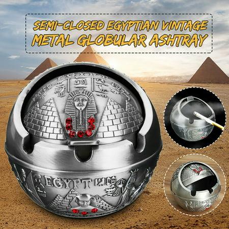 Men Vintage Semi-Closed Egyptian Pharaoh Pyramid Rhinestone Metal Ashtray Gift - image 1 of 1