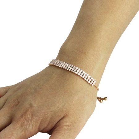 3 Row Cubic Zirconia Tennis Slider Bracelet, Rose Gold