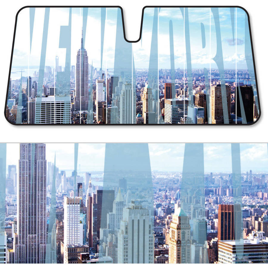 BDK New York SunShade, Towering Skyline, Folding Accordion with Static Cling Auto Shade