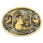 Montana Silversmiths Western Belt Buckle Oval Deer Silver 60796P