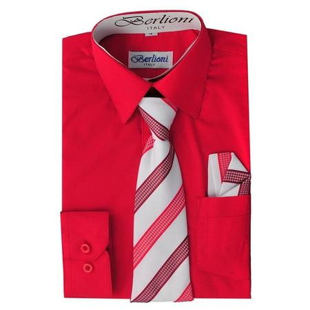 Berlioni Kids Boys Slim Fit Long Sleeve Dress Shirt With Tie & Hanky - Boys Red Dress Shirt