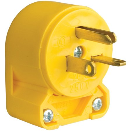 - 4509AN-SP-L Commercial Grade Vinyl Angled Plug with 20-Amp, 250-Volt, 6-20-NEMA Rating, Yellow, Commercial grade plugs & Connectors - NEMA 6-20, 2-pole/3-wire By Eaton