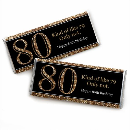 Adult 80th Birthday - Gold - Candy Bar Wrappers Birthday Party Favors - Set of 24
