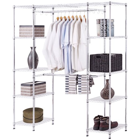 Gymax Expandable Closet Organizer Free Standing Clothes Hanger Rack Shelves Heavy -