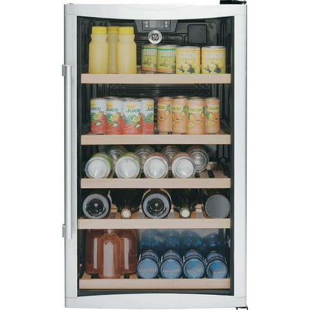GE 109 Can 4.1 Cu. Ft. Free Standing Wine and Beverage Center, Stainless - Beverage Center Left Hinge