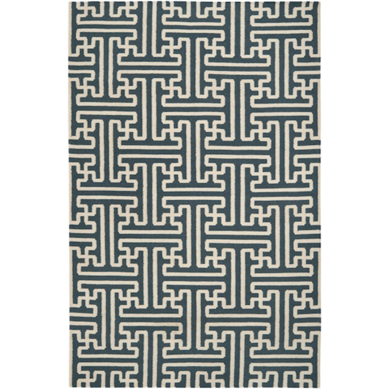 5' x 8' Block Pillars Winter White and Peacock Green Wool Area Throw Rug