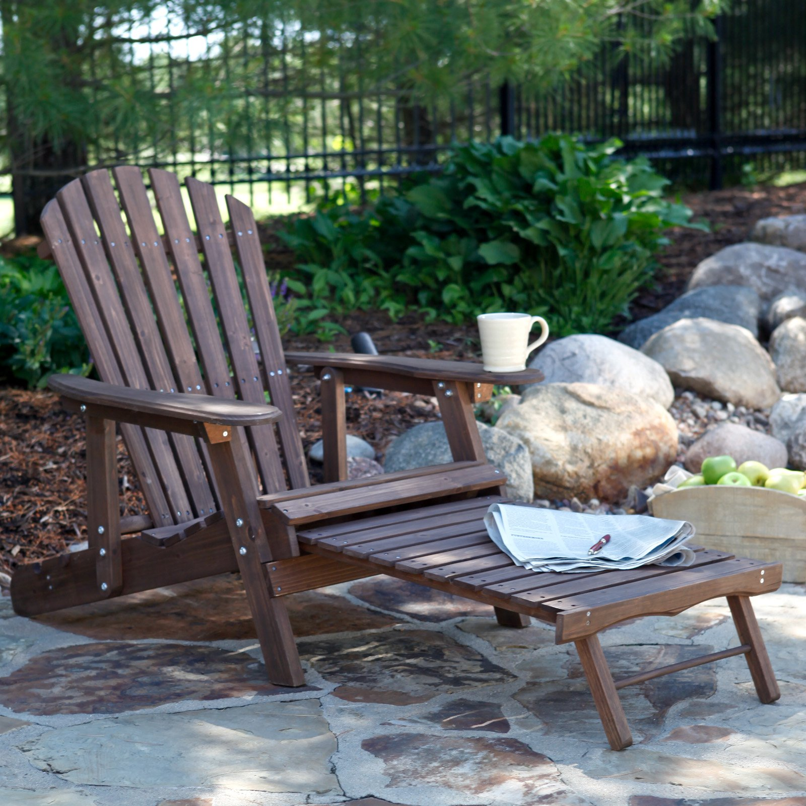 Coral Coast Grand Daddy Oversized Adirondack Chair with Pull out Ottoman - Dark Brown