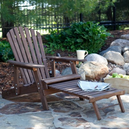 Coral Coast Grand Daddy Oversized Adirondack Chair with Pull out Ottoman - Dark Brown - Brown Adirondack Chair