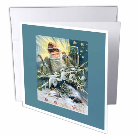 3dRose Victorian Santa with Toys in a Night Winter Scene with Shining Stars, Greeting Cards, 6 x 6 inches, set of 12