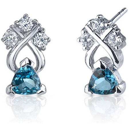 London Blue Topaz Drop (1.00 Carat T.G.W. Trillion-Cut London Blue Topaz Rhodium over Sterling Silver Drop Earrings )