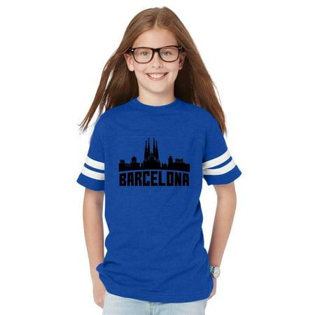 Barcelona Spain Youth Unisex Football Fine Jersey Tee ()