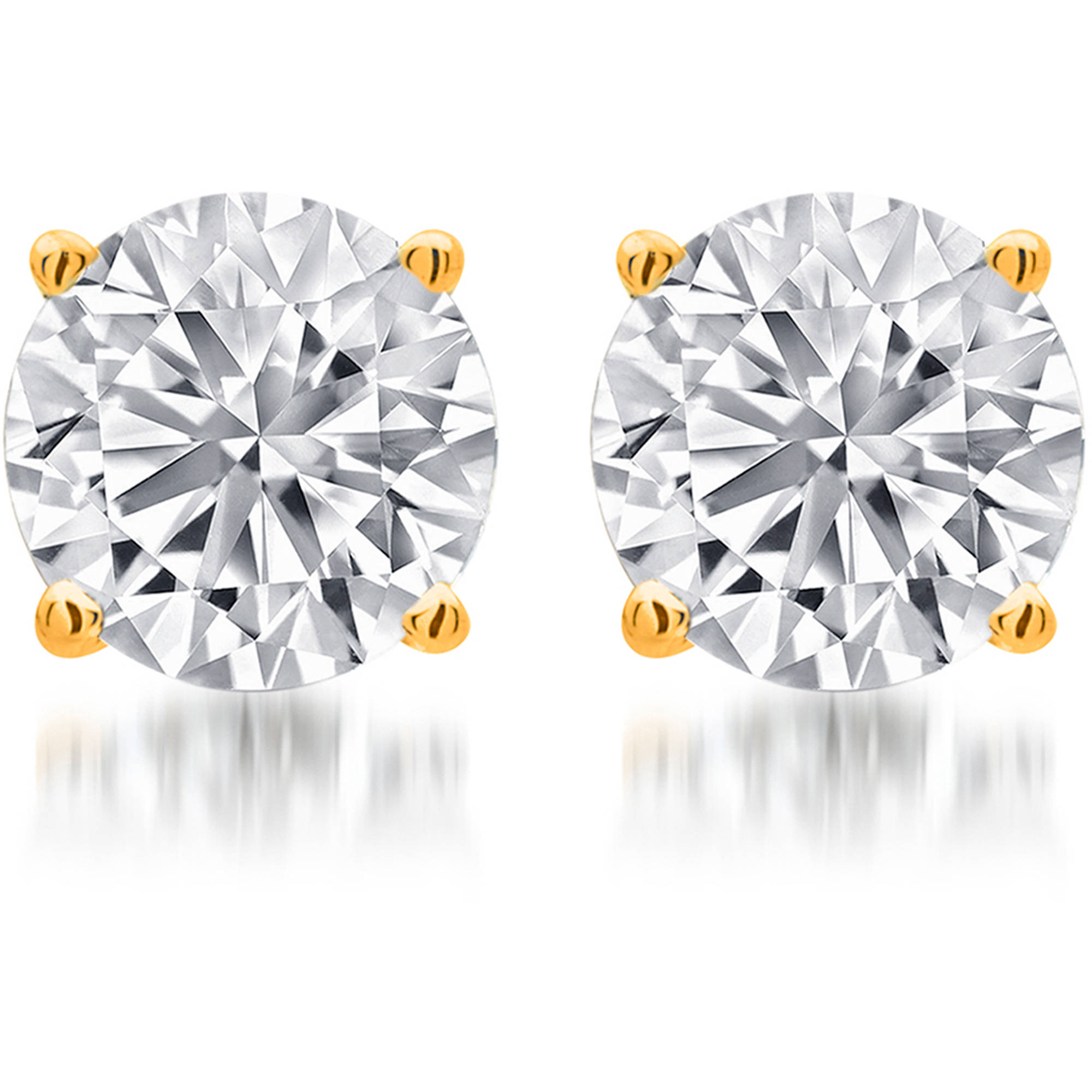 1-1/2 Carat T.W. Round White Diamond Yellow Gold over Sterling Silver Stud Earrings