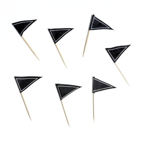 BalsaCircle Black 50 pcs Pennant Flag Wood Toothpicks - Wedding Party Event Catering Disposable Tableware Home Supplies