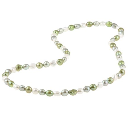 9-10 mm Multi-colored Green Baroque Freshwater Pearl Endless Necklace, 28-inch Baroque Pearls Crystal Necklace