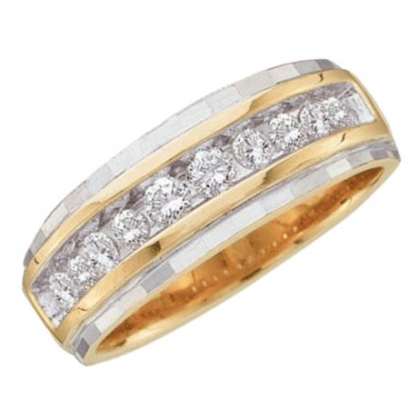 Mens 10k Two Tone Gold Round Channel Set Diamond Wedding Anniversary Band ()