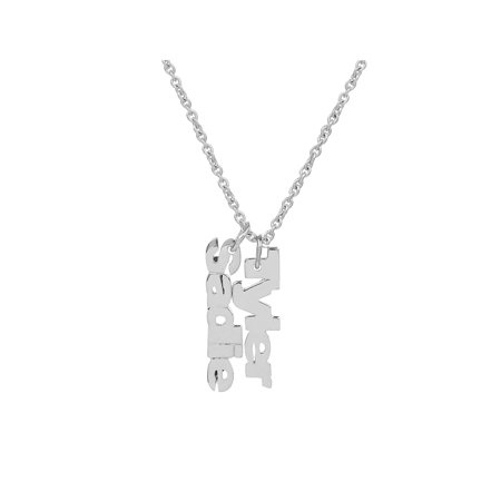 Personalized Sterling Silver or Gold Plated Mothers Vertical Mini Name Necklace with an 18 inch Link Chain - Personalized M&m