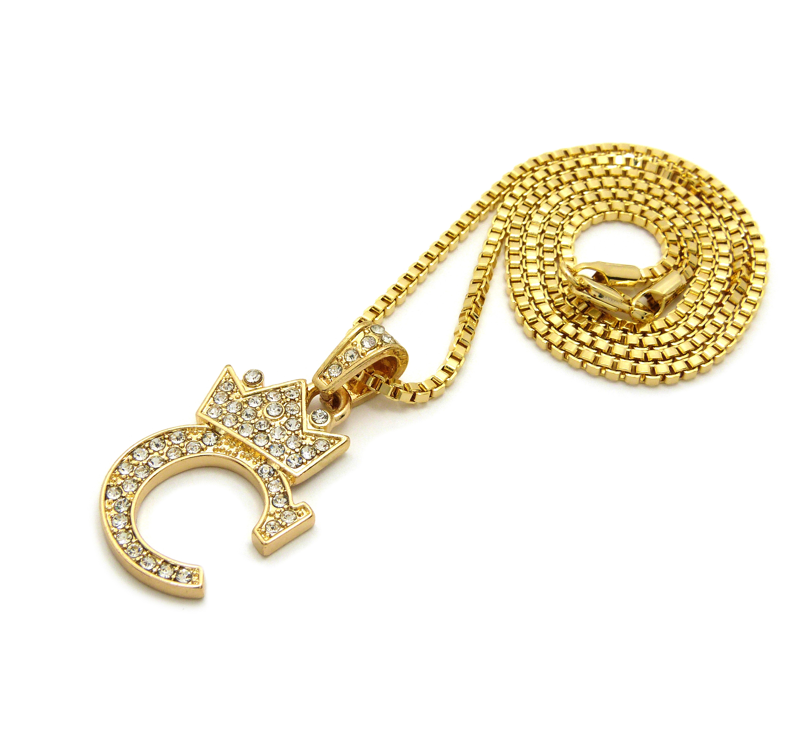 Small Gold Iced Out Boxing Glove MMA Pendant Chain