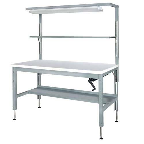 Parent Metal Products Basic Hydraulic Height Adjustable Plastic Top Workbench