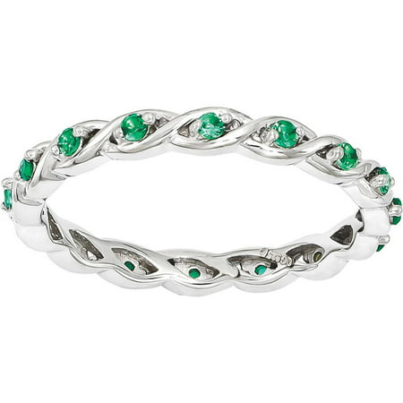 Created Emerald Sterling Silver -
