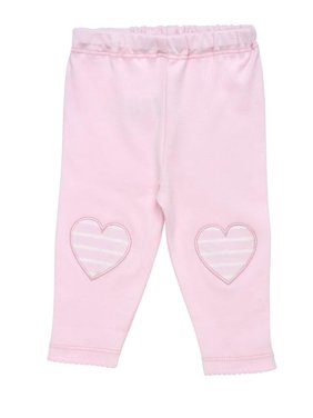 Baby Organic Cotton Pale Pink Legging with Heart Knee Patches