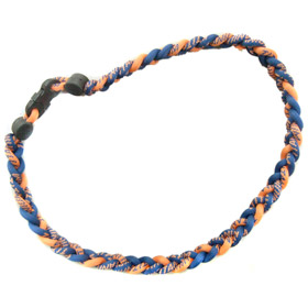 Titanium Ionic Braided Necklace - Navy Blue/Orange
