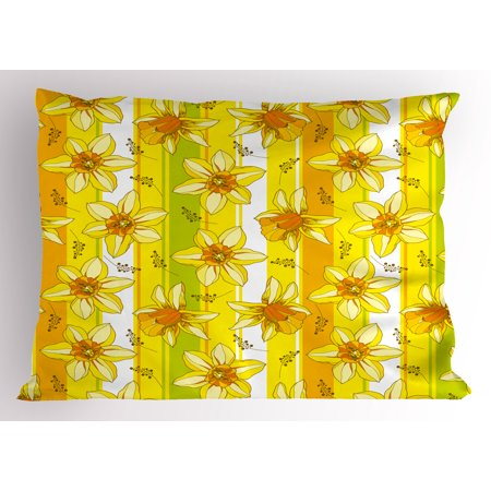 Yellow Flower Pillow Sham Floral Spring Narcissus and Daffodil Jonquil Blooms Striped Backdrop, Decorative Standard King Size Printed Pillowcase, 36 X 20 Inches, Yellow Apple Green, by Ambesonne