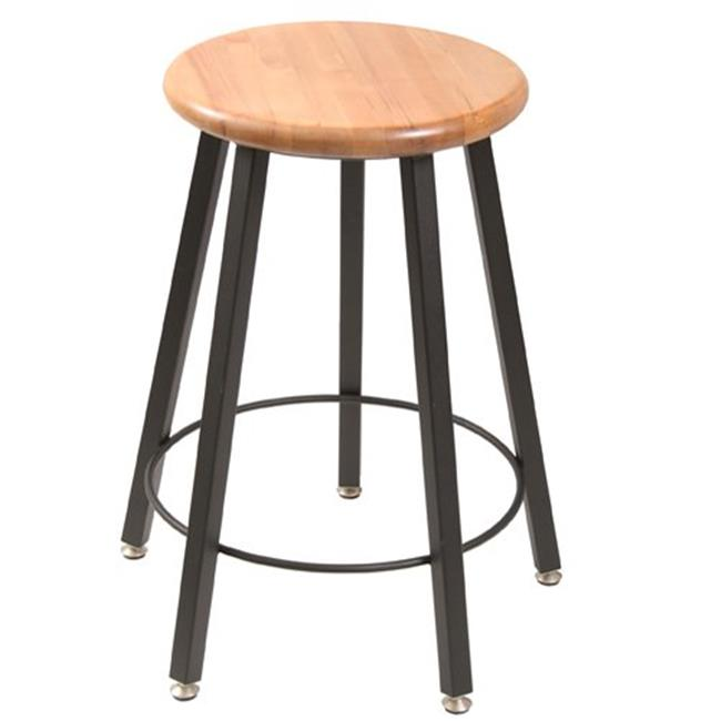 Wisconsin Bench  STL9186-AL 24 in. Fixed Five-Legged Square Tube Fully Welded Stool  Hardwood Seat
