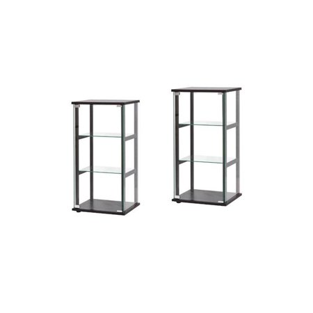 (Set of 2) Contemporary Glass Curio Cabinet in Black ()