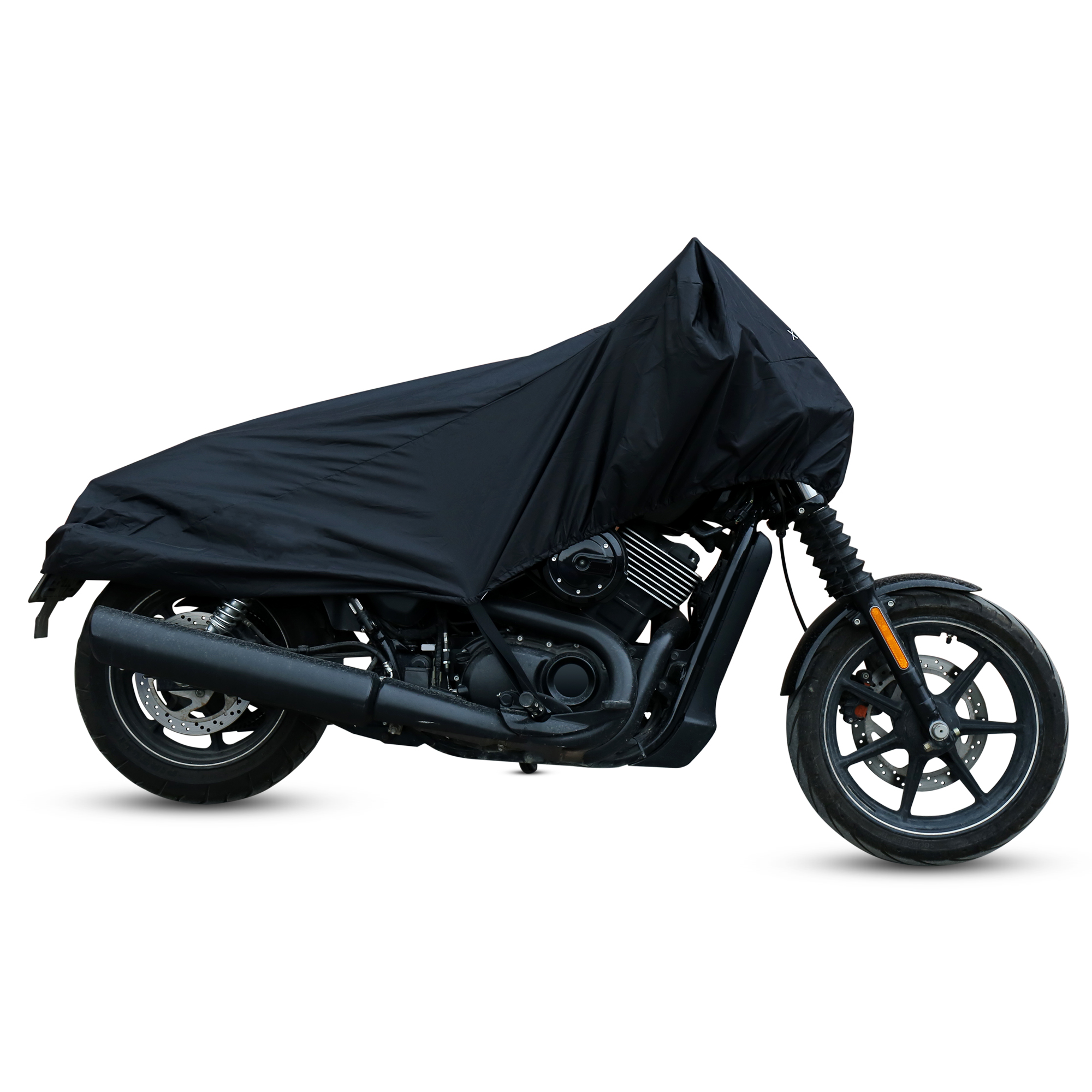 Black//Silver AKORD Motorcycle Waterproof UV Protective Cover with Storage Bag Size XL