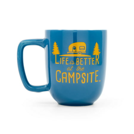Camco Life Is Better at The Campsite, Blue and Gold Retro RV Trailer Logo Ceramic Coffee Mug - Great for Camping and Outdoors, Microwave and Dishwasher Safe (53232)