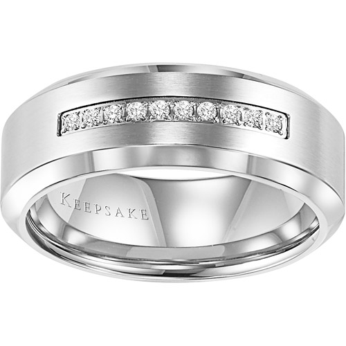 Keepsake Men's Sebastian Diamond Accent Stainless Steel Wedding Band, 8mm by Frederick Goldman