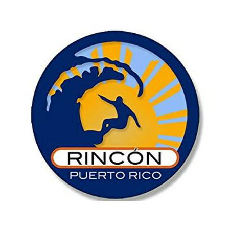 Round Surfer On Wave RINCON Puerto Rico Sticker Decal (surfing surf retro beach) 4 x 4 inch Puerto Rico Decal Sticker