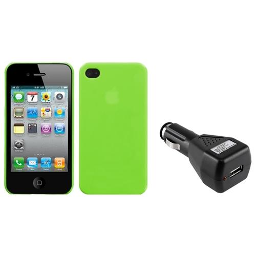 Insten Natural Apple Green Back Case For iPhone 4 4S + USB Car Charger Adapter