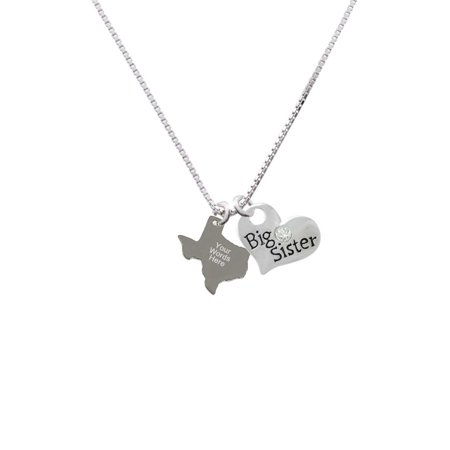 Custom Texas Holdem Pendant (Stainless Steel Custom Engraved Texas - Big Sister Heart Necklace )
