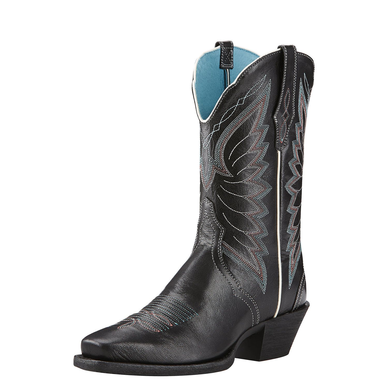 Ariat Autry Women Square Toe Leather Black Western Boot by Ariat