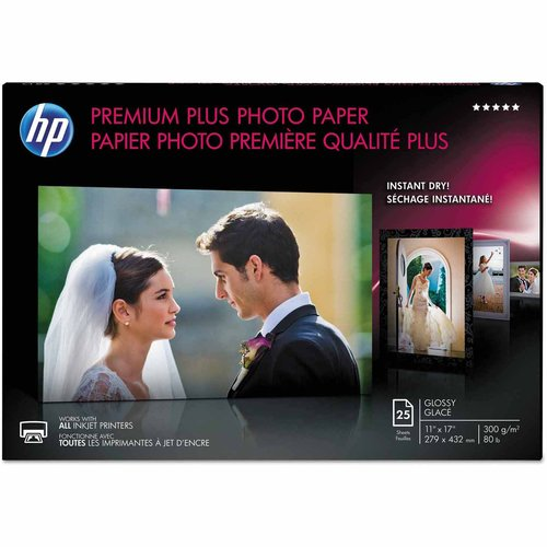 "HP Premium Plus Photo Paper, 75 lbs, Glossy, 11"" x 17"", 25 Sheets per Pack"
