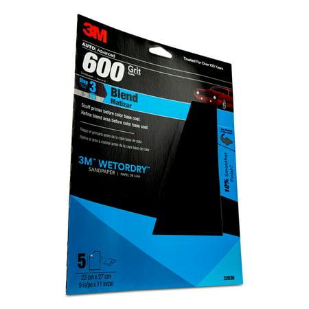 3M Wetordry Sandpaper, 32036, 600 Grit, 9 in x 11 in, 5 per pack, 20 per case