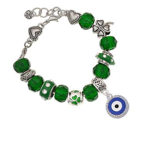 Silvertone Large Blue Evil Eye with AB Crystal Border Green St  Patrick's  Day Bead Bracelet