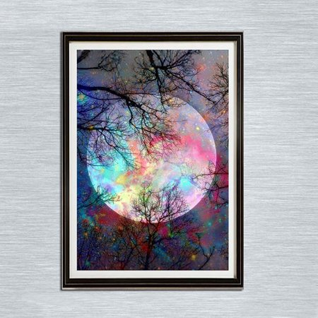11.8*15.7 Inch DIY 5D Full Diamond Embroidery Patterns Painting Forest Tree Color Moon Printed Wall Cross Craft Stitch Prints for Home Office Wall Decor