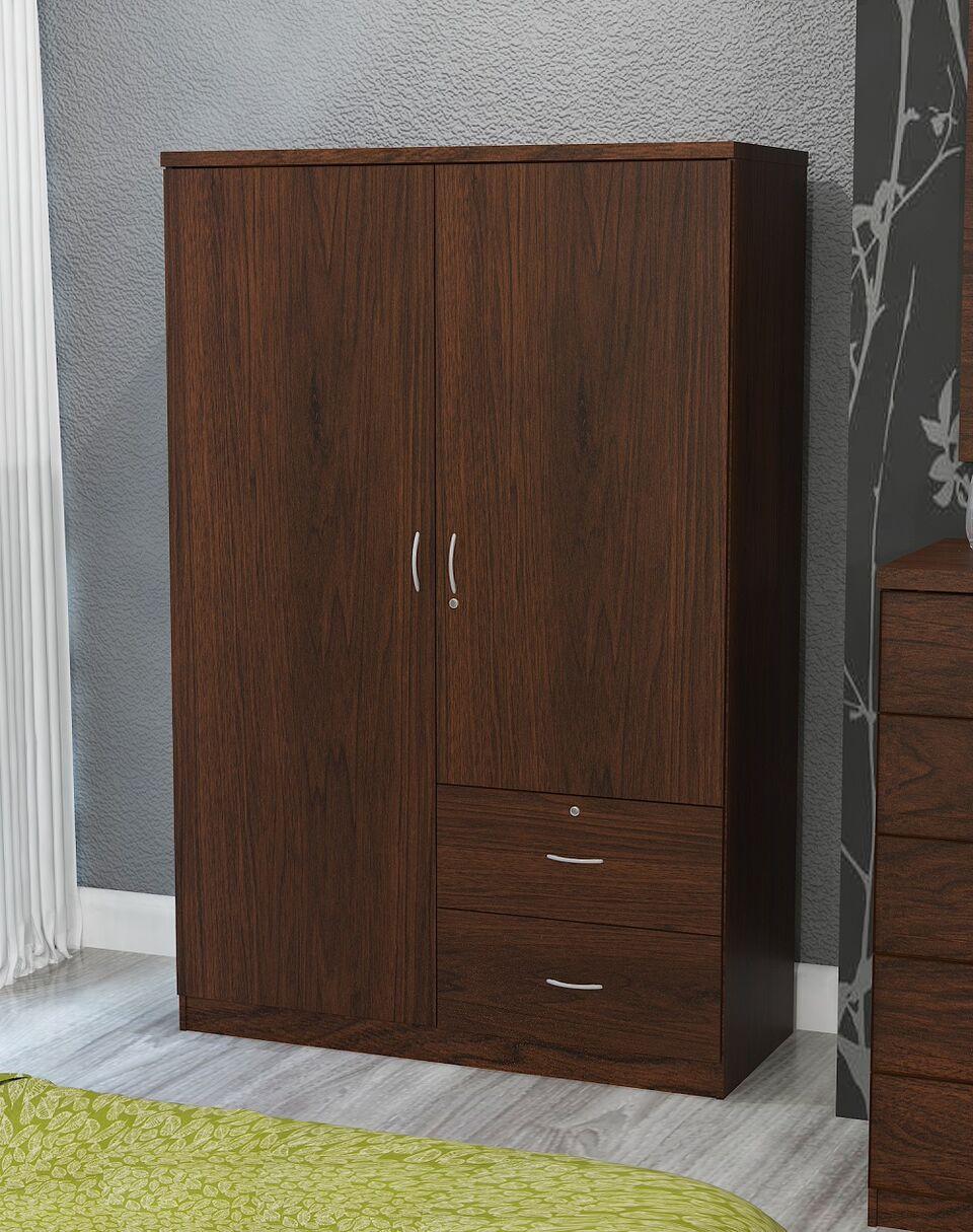 Home Source Volker Walnut 2 Door Wardrobe With 2 Drawers