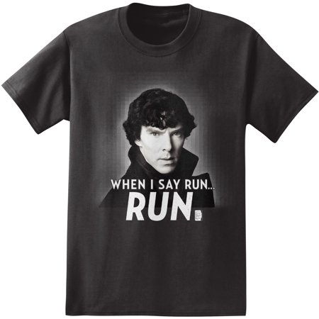 Sherlock Holmes When I Say Run Men's Black T-Shirt (Color Run Shirts)
