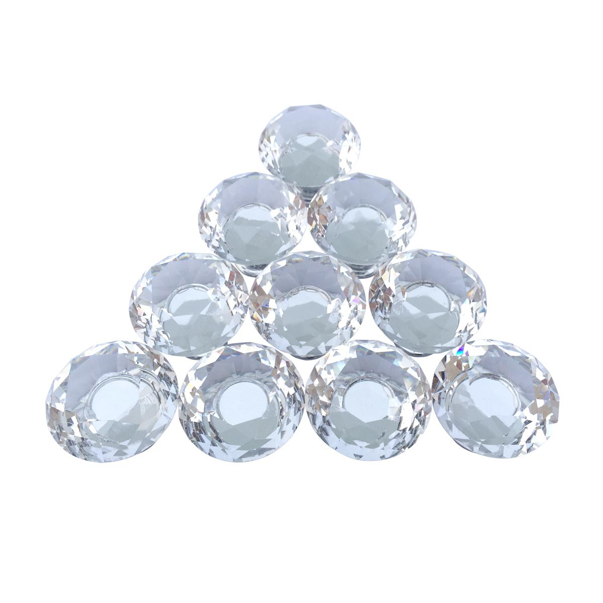 clear glass cabinet knobs mushroom head 1 in proj set of 10